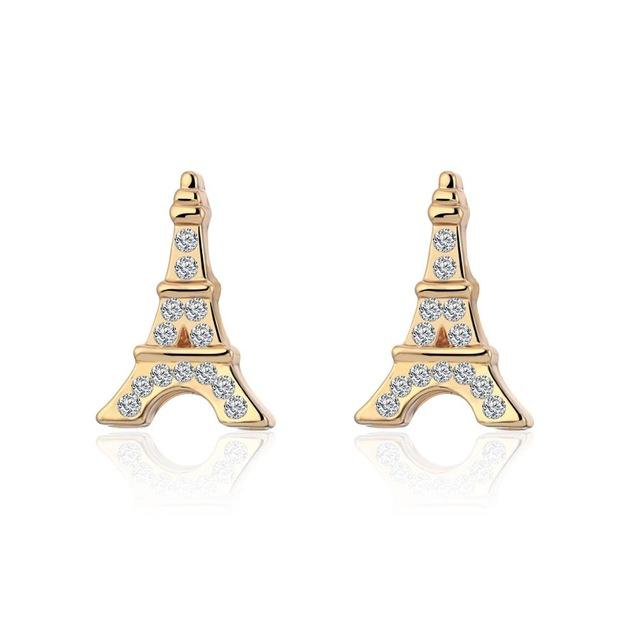 Lovely 3D Paris Eiffel Tower Earrings For Women Gold Color Stud Earring Female Jewelry