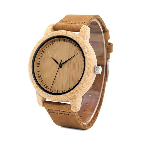 Lovers' Watches Women Bamboo Wood Men Watch Leather Band Handmade Quartz Wristwatch - GiftWorldStyle - Luxury Jewelry and Accessories