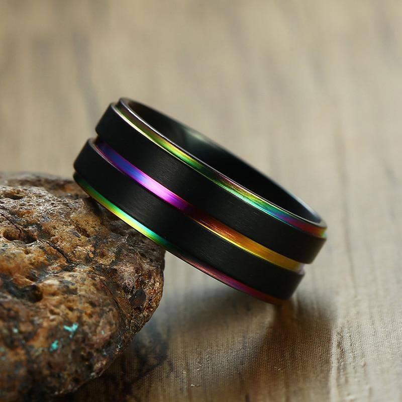 Lucky Rainbow Rings Daily Wear Stainless Steel Gay Lesbian Wedding Bands 8mm