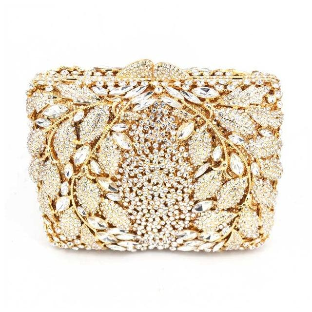 Luxury Champagne Crystal Diamond Clutch Bag - Square Purse