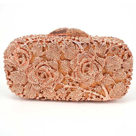 Luxury Crystal Evening Bag With Flowers And Hollow Out - GiftWorldStyle - Luxury Jewelry and Accessories