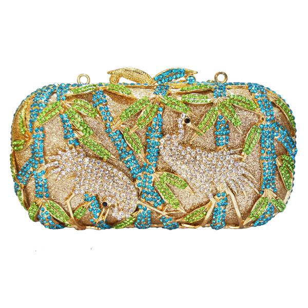 Luxury Crystal Evening Bag - Two Crane Party Purse
