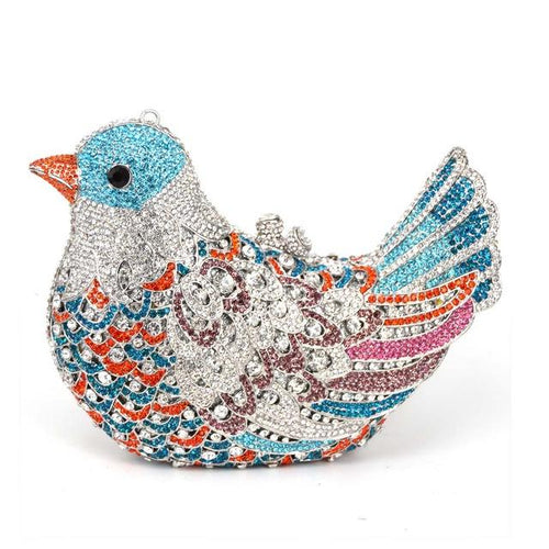 Evening Bag In Bird Pattern With Crystal And Chains - GiftWorldStyle - Luxury Jewelry and Accessories