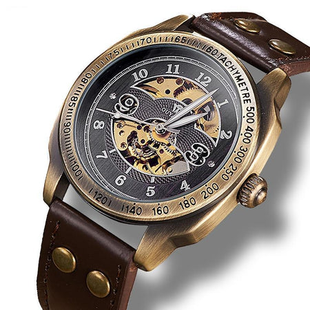 Mechanical Skeleton Watch With Luminous Hands And Moon Phase - GiftWorldStyle - Luxury Jewelry and Accessories