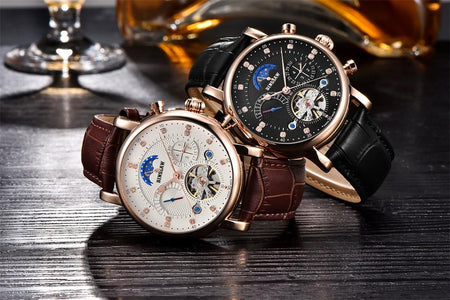 Men's Automatic Mechanical Tourbillon Watch With Luxury Genuine Leather Strap - GiftWorldStyle - Luxury Jewelry and Accessories