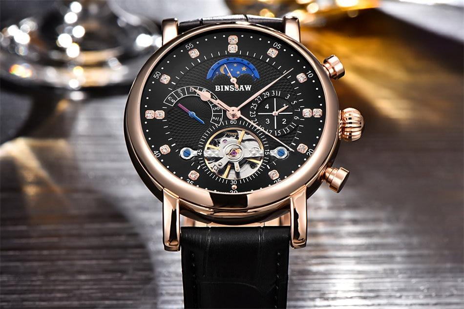 Men Automatic Mechanical Watch Tourbillon Luxury Genuine Leather Man Watches