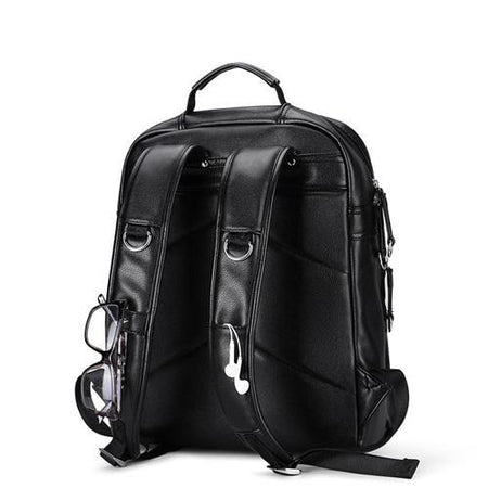 Men Backpack  PU Leather Backpacks Laptop Bags External USB Charge Computer