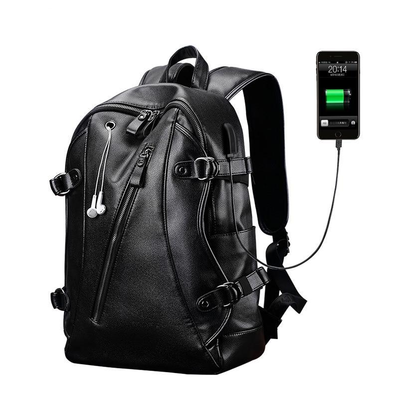 Men Backpacks PU Leather Waterproof Bags 15.6 Inch Laptop External USB Charge Computer Bag