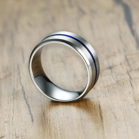 Men's Basic 8mm Wedding Ring With Thin Blue Line - Stainless Steel