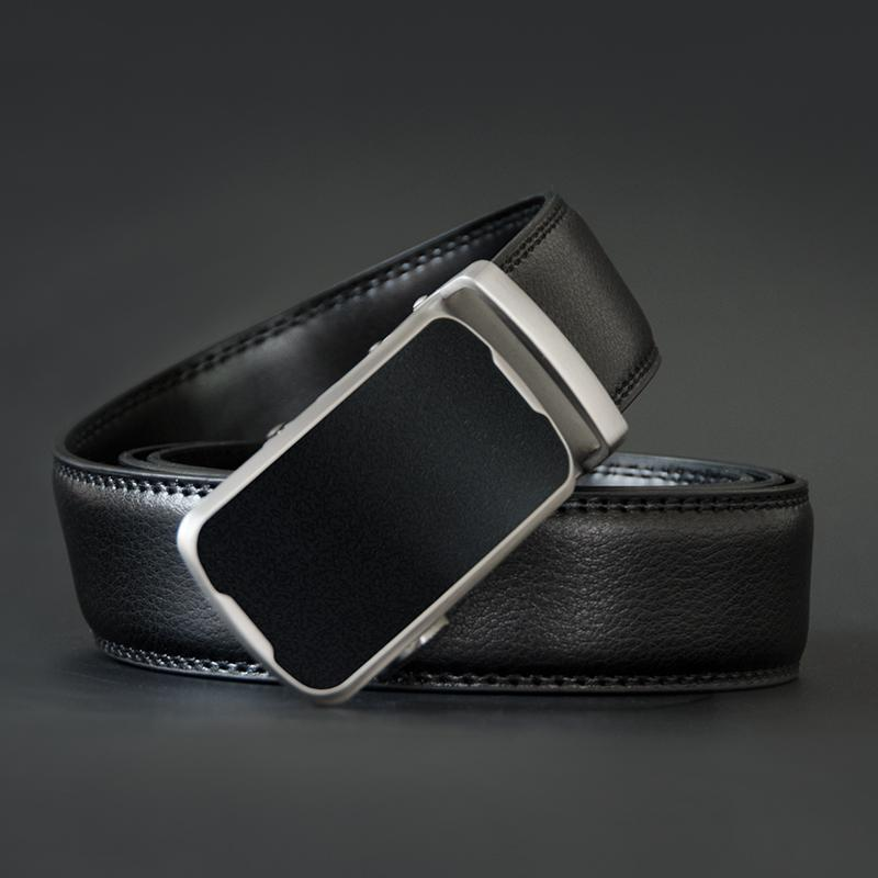 Men's Belt With Alloy Automatic Buckle - Genuine Leather