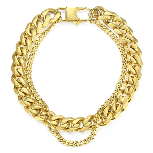 Men's Bracelet Hip Hop Polished Cuban Link Chain Gold Stainless Steel Double Chain Bracelet Male Jewelry