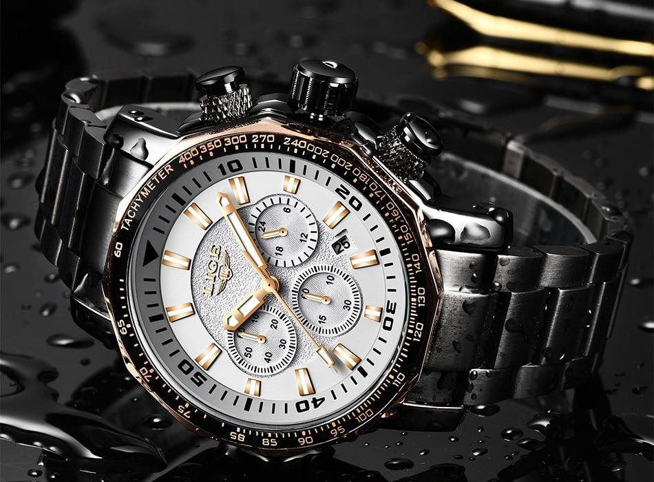 Men's Chronograph Full Steel Quartz Military Sport Waterproof - GiftWorldStyle - Luxury Jewelry and Accessories