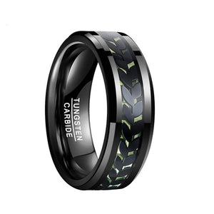 Men's Electroplated Black Leaf Green Carbon Fiber Tungsten Carbide Ring