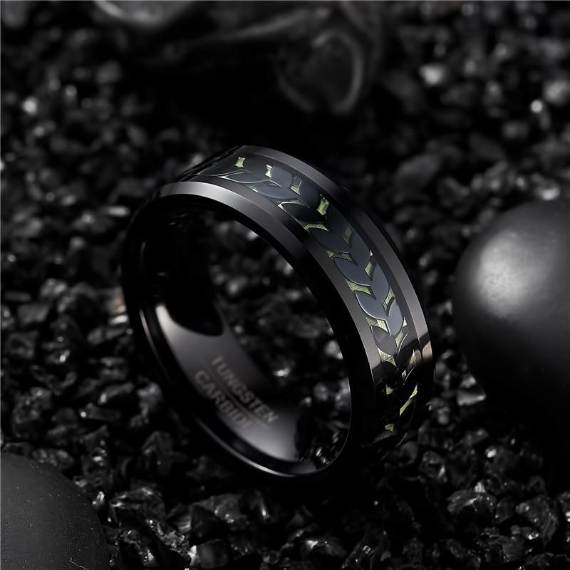 Men's Electroplated Black Leaf Green Carbon Fiber Tungsten Carbide Ring - GiftWorldStyle - Luxury Jewelry and Accessories