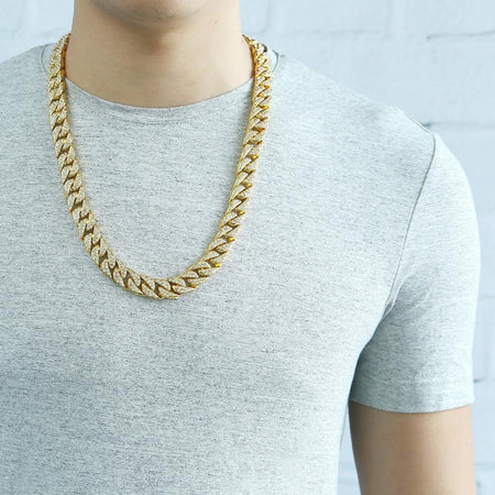 Men's Hip Hop Necklace Gold Miami Iced Out Cuban Link Chain Necklace Male Jewelry