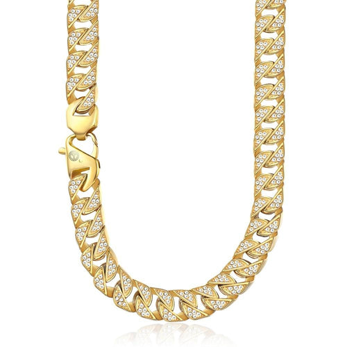 Men's Necklace Hip Hop Iced Out Full Rhinestone Gold 316 Stainless Steel Chain Necklace Male Jewelry