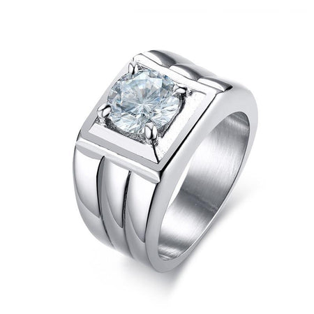 Men's Ring From Stainless Steel With Big Cubic Zirconia Stone - GiftWorldStyle - Luxury Jewelry and Accessories