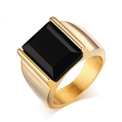 Men's Ring With Black Large Stone - 316L Stainless Steel - GiftWorldStyle - Luxury Jewelry and Accessories