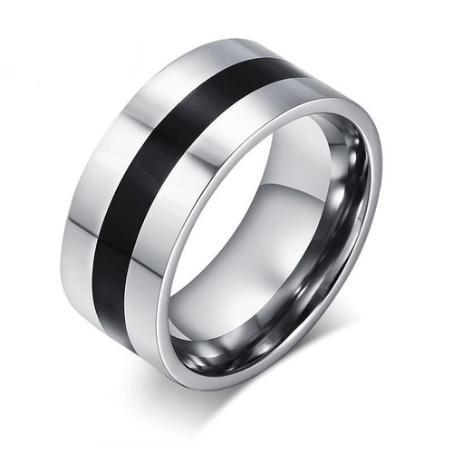 Men's Ring With Black Line In The Middle - Stainless Steel - GiftWorldStyle - Luxury Jewelry and Accessories