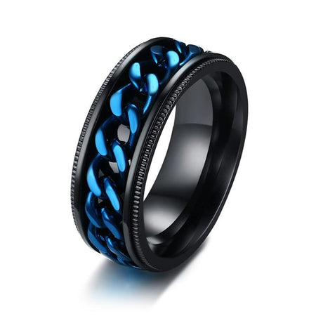 Men's Ring With Blue Center Curb Chain Spinner - Stainless Steel - GiftWorldStyle - Luxury Jewelry and Accessories