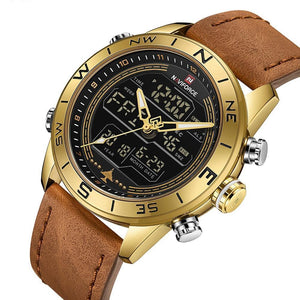Men's Sport LED Analog Digital Watch - Multiple Time Zone, Alarm