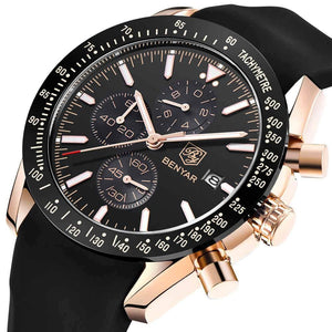 Waterproof Quartz Watch With Chronograph And Silicone Strap - GiftWorldStyle - Luxury Jewelry and Accessories