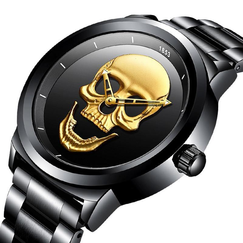 3D Skull Waterproof Quartz Watch With Full Steel Waterproof Strap - GiftWorldStyle - Luxury Jewelry and Accessories