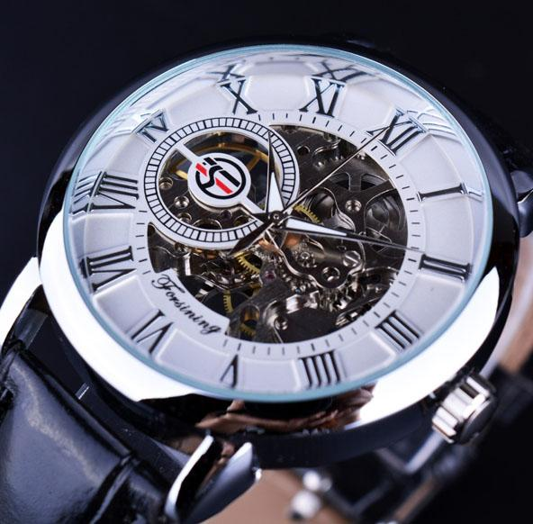 Men Watches Mechanical Skeleton Watch 3D Literal Roman Number Black Dial Clock