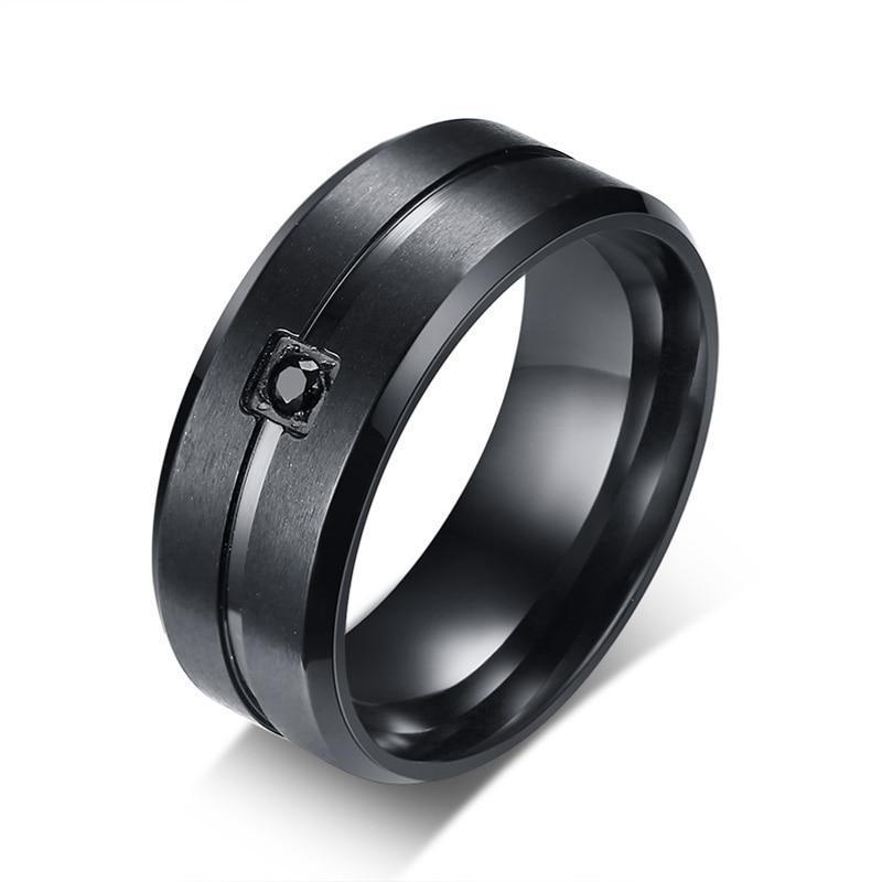Men's Cubic Ring With Black Stone And Stainless Steel - GiftWorldStyle - Luxury Jewelry and Accessories