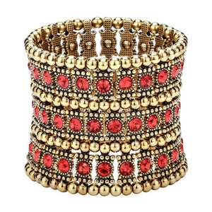 Multilayer Stretch Cuff Bracelet Women Crystal Jewelry Silver Gold Black