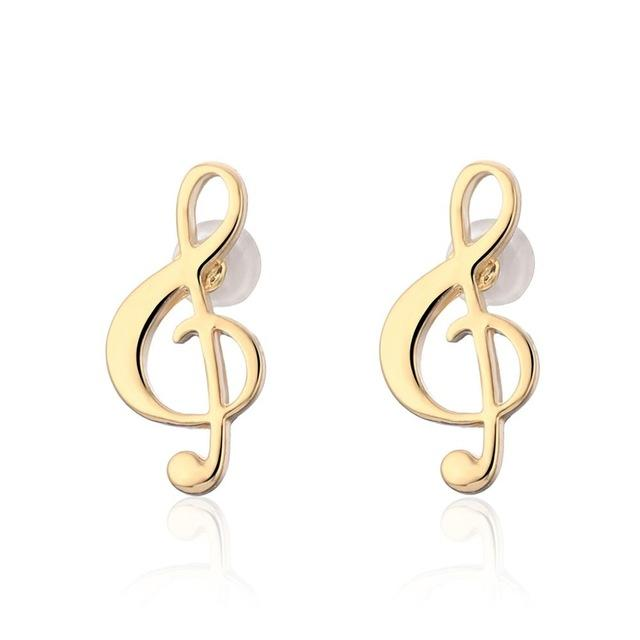 Music Note Stud Earrings - Stainless Steel