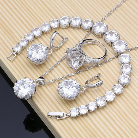 Natural 925 Silver Bridal Jewelry White Zircon Sets Women Earrings Pendant Necklace Rings Bracelet