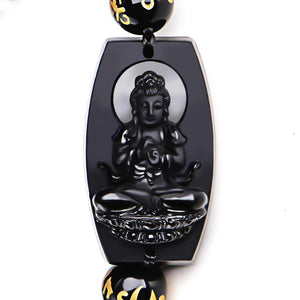Natural Black Obsidian Carved Buddha Lucky Amulet Round Beads Bracelet Bracelet Jewelry