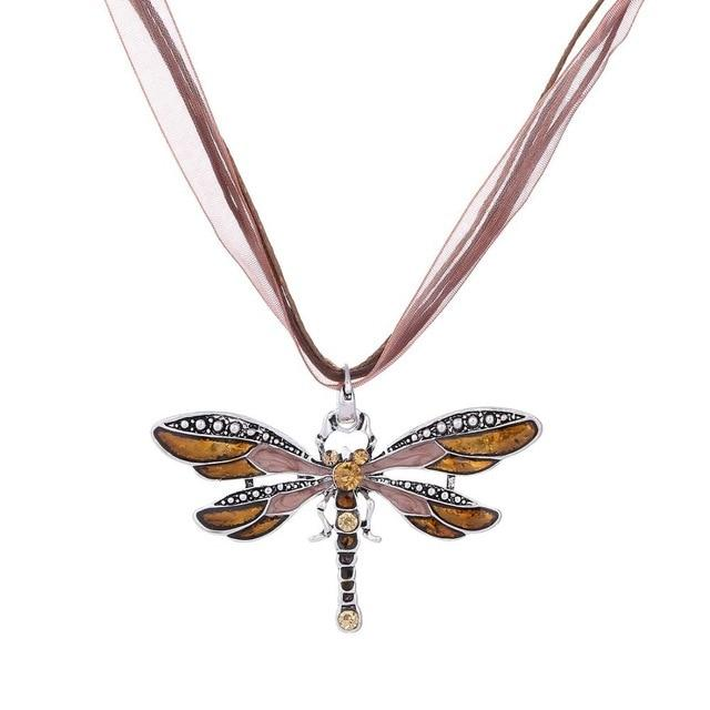 Silver Dragonfly Necklace With Vintage Rope Chain - GiftWorldStyle - Luxury Jewelry and Accessories
