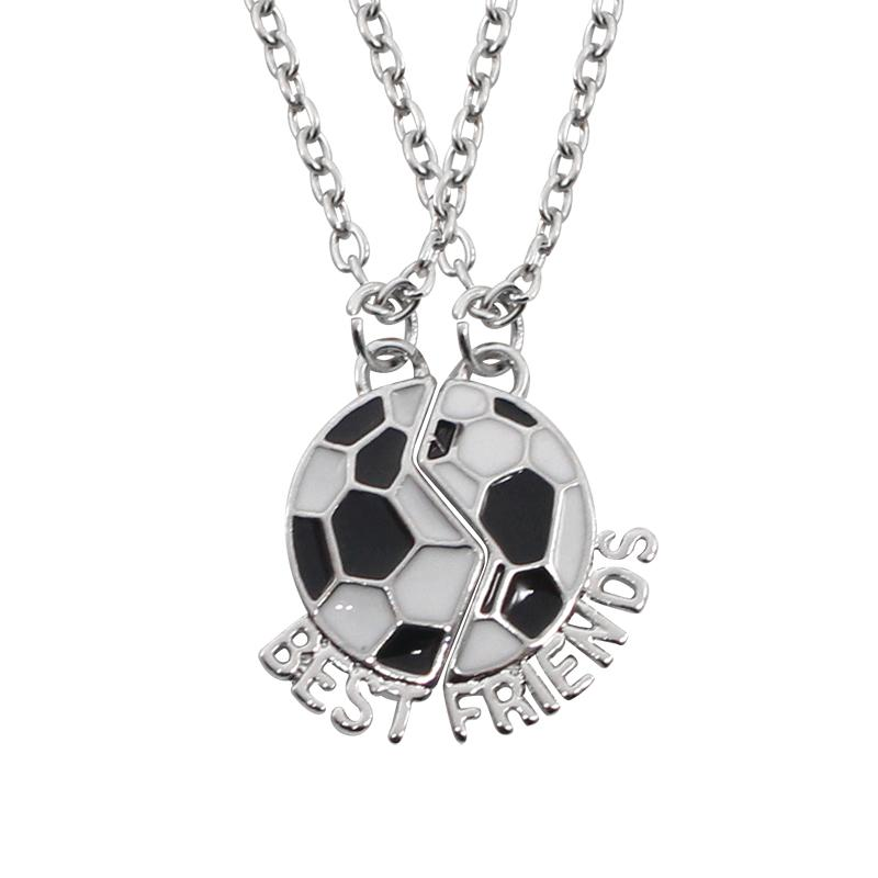 Necklace Soccer Football Friendship Pendant Necklaces Two Parts Sport Football Team Number