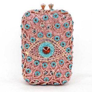 Big Crystal Evening Bag With Diamond Flower And Chain - GiftWorldStyle - Luxury Jewelry and Accessories