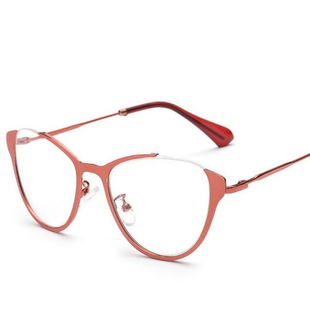 Optical Glasses Frame For Women Metal Vintage Cat Eye Eyeglasses Half-frame - GiftWorldStyle - Luxury Jewelry and Accessories