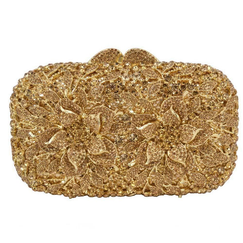 Evening Diamond Bag With Gold Alloy Flowers - GiftWorldStyle - Luxury Jewelry and Accessories