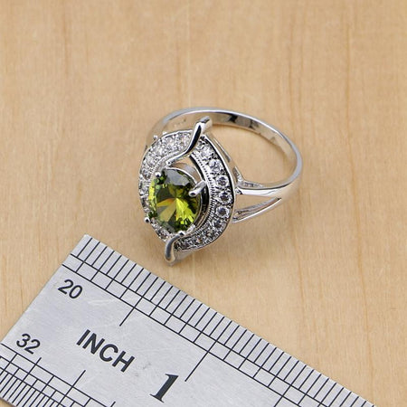 Oval 925 Silver Bridal Jewelry Olive Green Zircon Jewelry Sets Women Earrings Pendant Necklace Rings Bracelet
