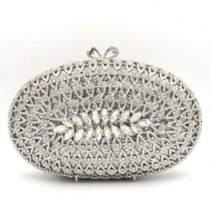 Oval Luxury Crystal Clutch Bag - Ladies Evening Bag