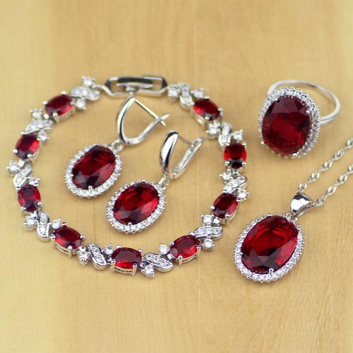 Oval Red CZ White Zircon 925 Sterling Silver Jewelry Sets Women Earrings Pendant Necklace Rings Bracelet