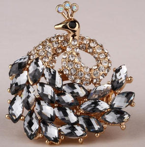 Peacock Stretch Ring For Women Antique Gold Silver Color W Crystal Jewelry