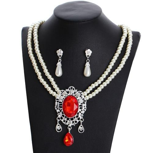 Pearls Bridal Jewelry Sets Women Silver Color Rhinestone Necklace Sets Wedding Bridal Jewelry