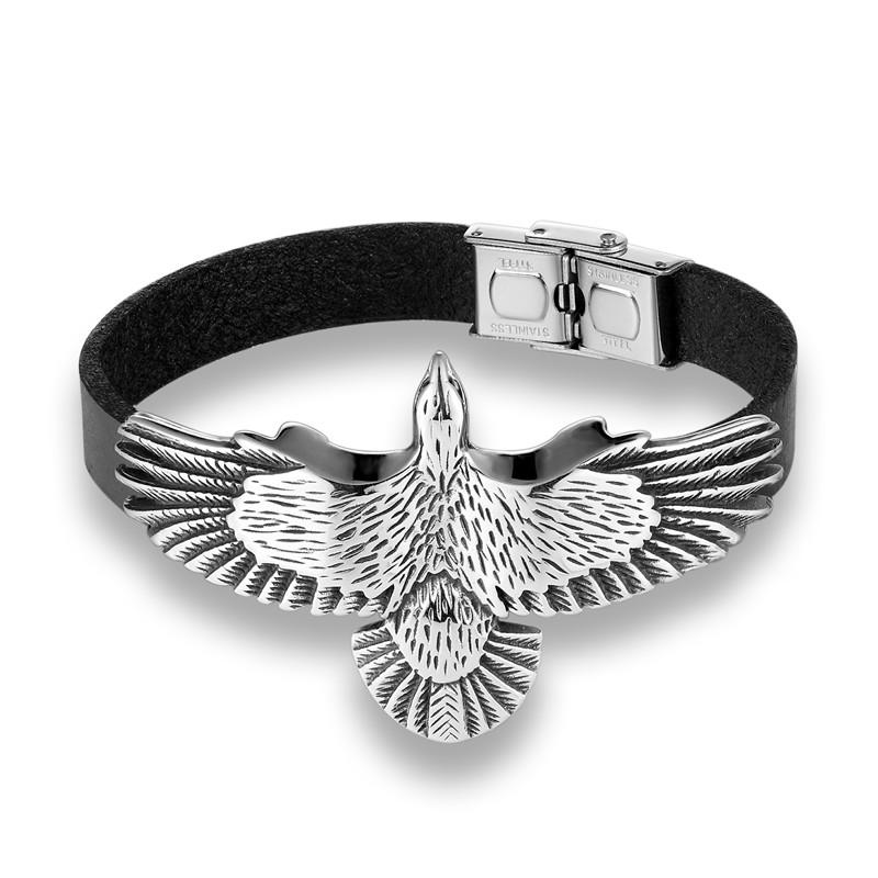 Pelican Eagle Bracelet - Stainless Steel, Black Genuine Leather - GiftWorldStyle - Luxury Jewelry and Accessories