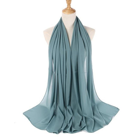 Muslim Scarves  Bubble Chiffon Scarf In One Color For Women,Headband - GiftWorldStyle - Luxury Jewelry and Accessories