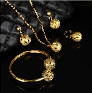 Plated Ball Jewelry Set Pendant Necklace Cuff Bracelet Bangle Earrings African Beads Jewelry Sets