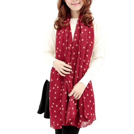 Polka Dot Print Long Scarf For Women From Soft Silk Chiffon - GiftWorldStyle - Luxury Jewelry and Accessories
