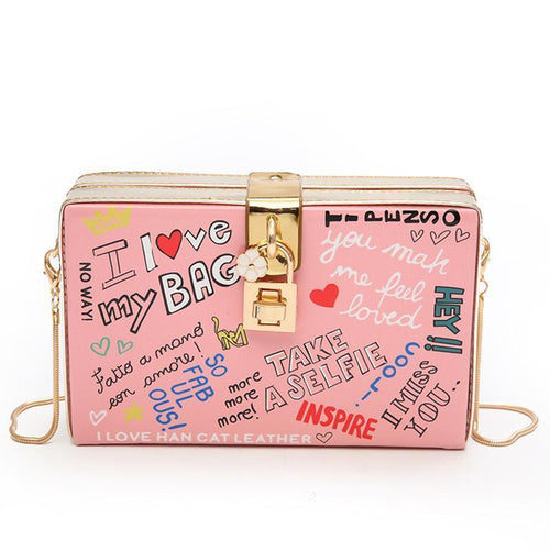 Popular Letter Graffiti Box Female Pu Leather Women's Clutch Bag Shoulder Handbag Crossbody Bag Flap