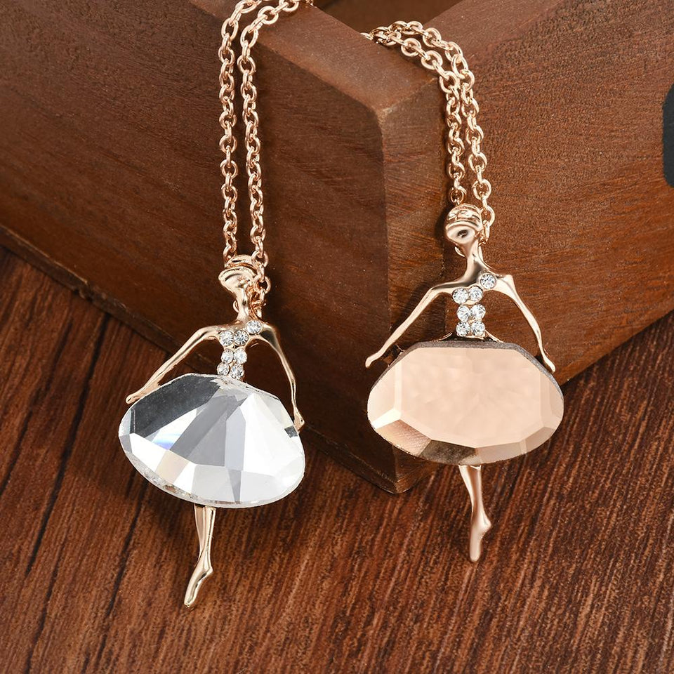 Pretty Crystal Ballet Dancer Girl Pendant Long Chain Necklace Pendant Jewelry Women