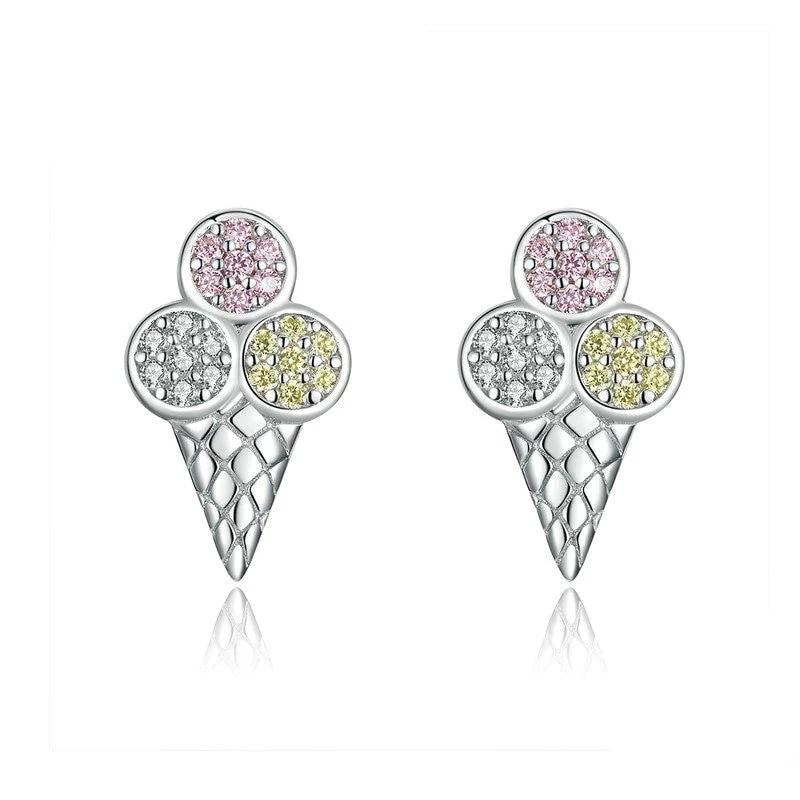 Colorful Ice Cream Ball Stud Earrings - CZ, Sterling Silver 925